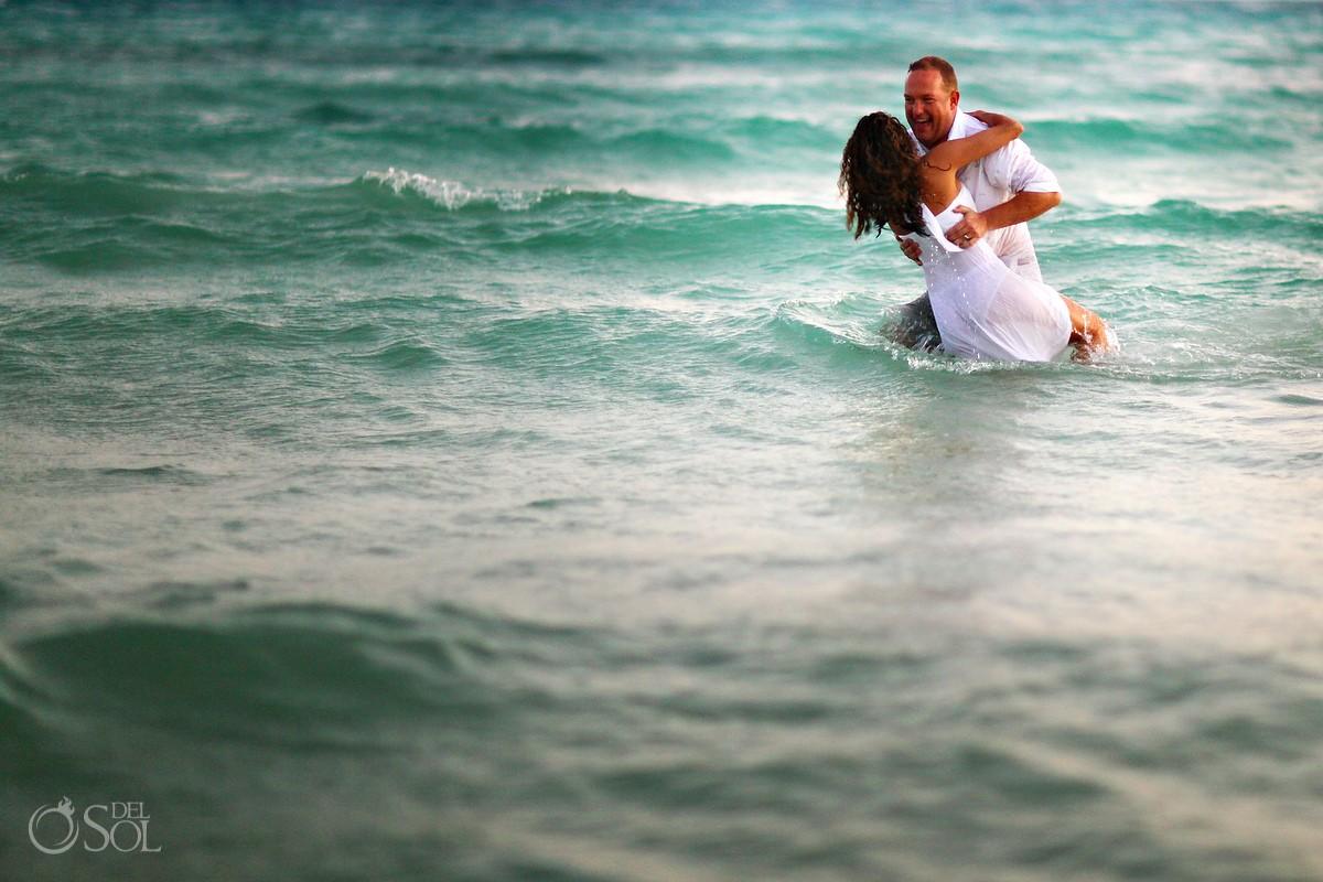 Riviera Maya wedding beach trash the dress Mexico