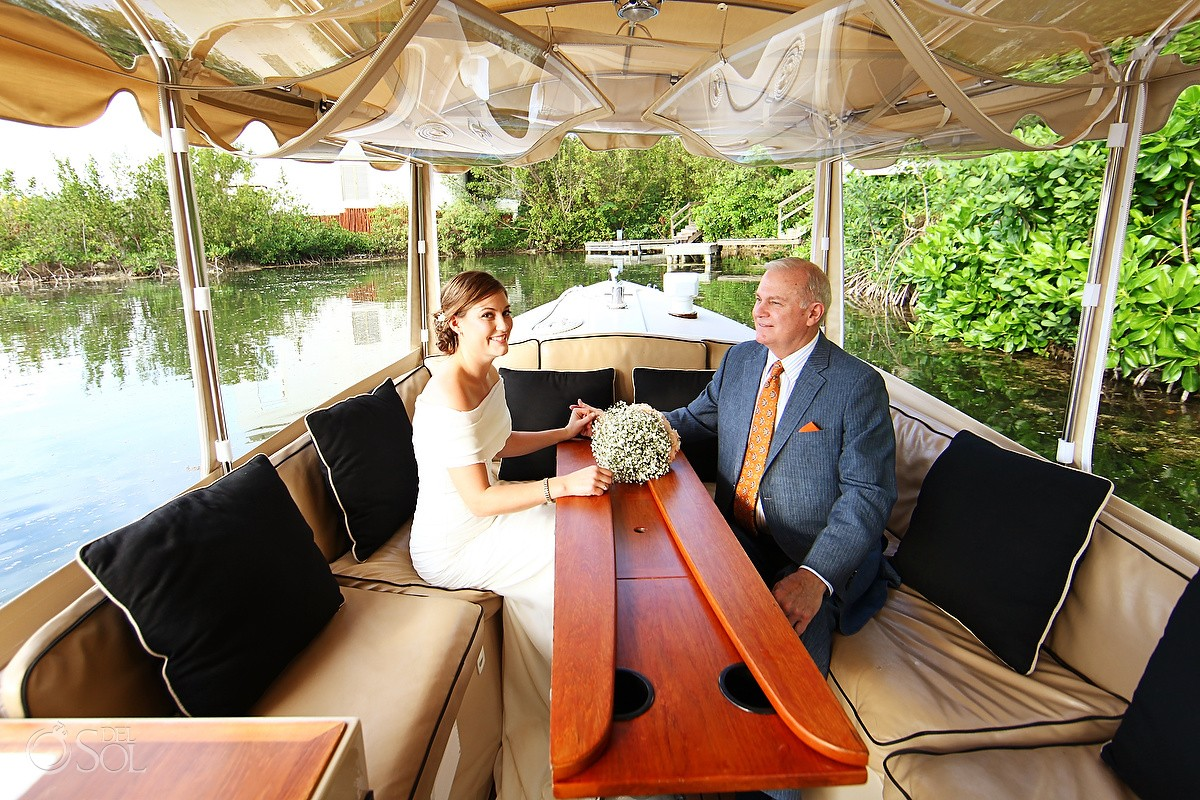 Rosewood Mayakoba Destination Wedding Canals arriving by boat