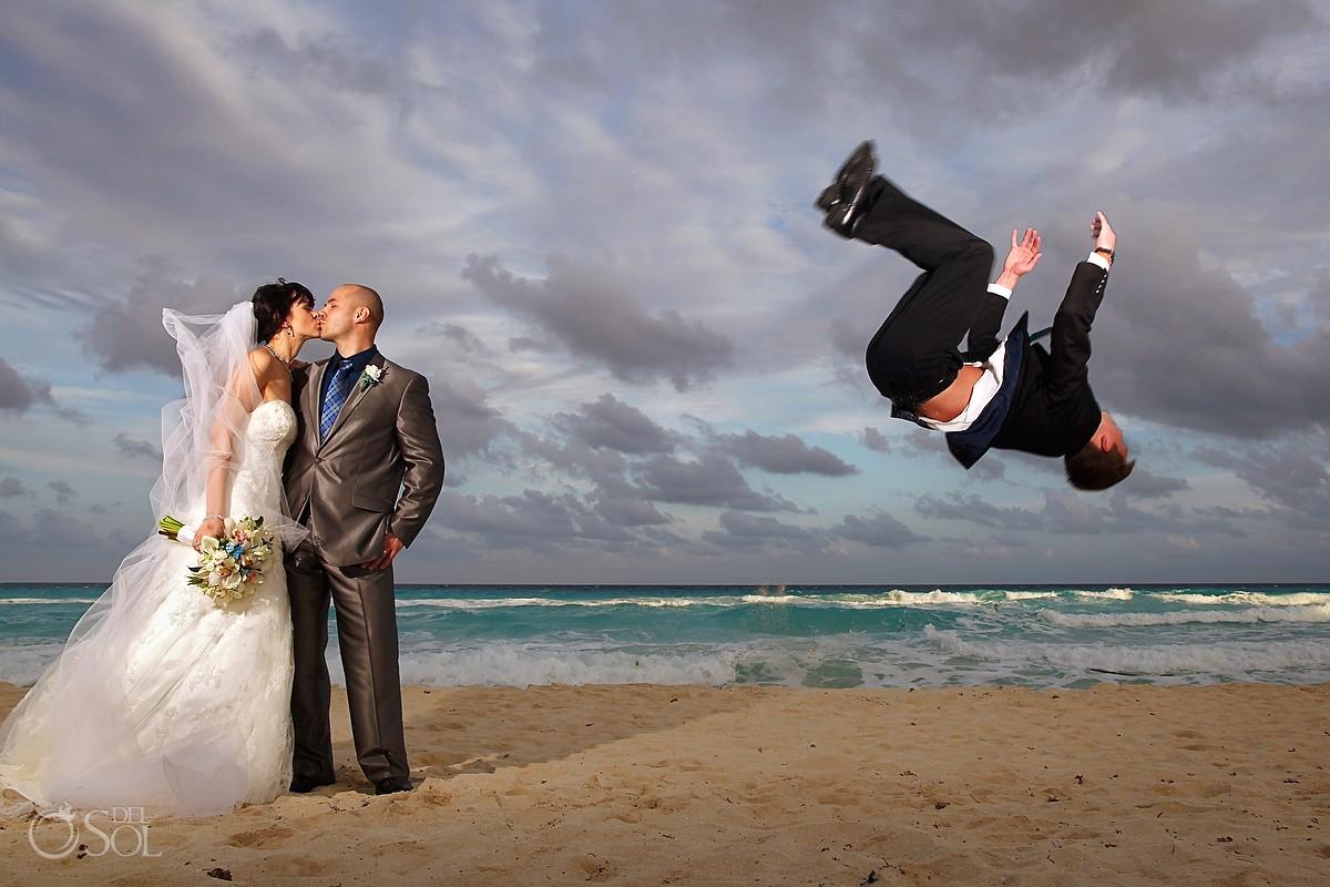 Cancun Wedding Fiesta Americana Condesa bride groom kiss
