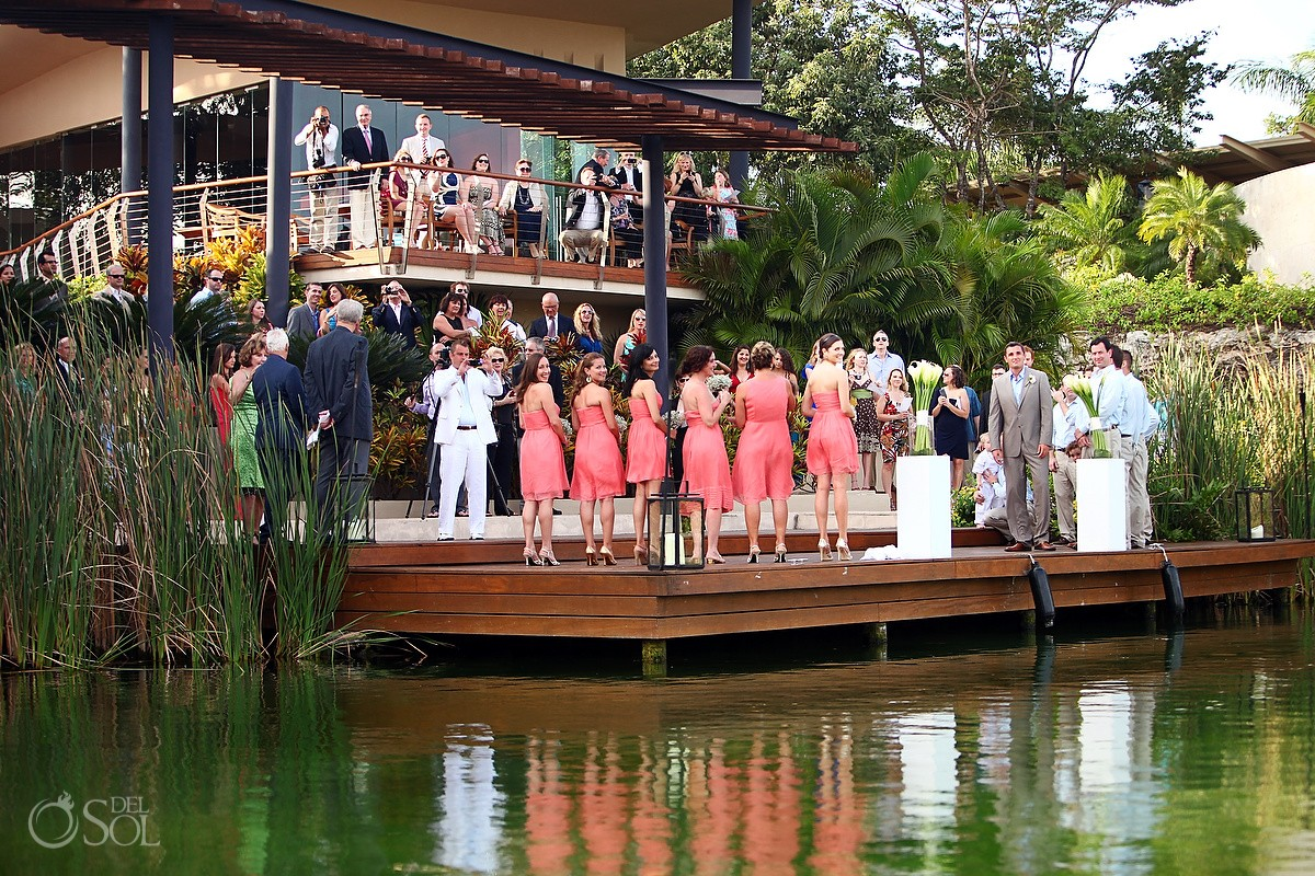 Rosewood Mayakoba Destination Wedding Ceremony next to the water