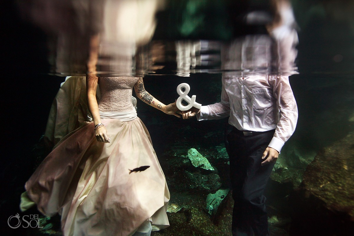 Underwater Bride and Groom Portrait