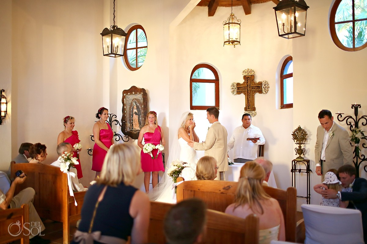 Mexico destination wedding ceremony Dreams Tulum chapel