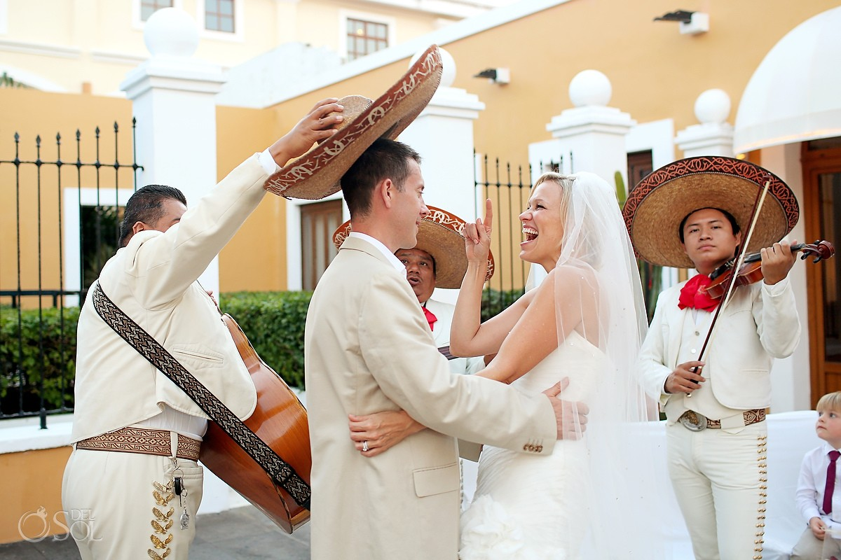 Mexico destination wedding Dreams Tulum bride groom mariachis