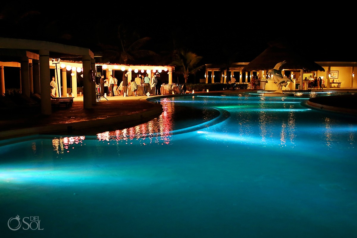 pool lights at night at dreams tulum hotel mexico