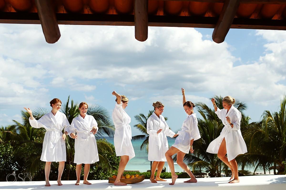 Hotel Esencia wedding photography bridesmaids dancing