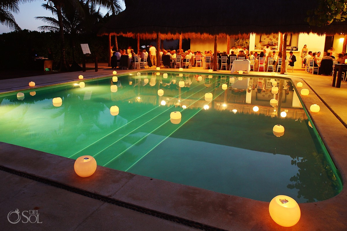 floating Candles by Candle Boutique, poolside wedding reception Hotel Esencia Riviera Maya mexico