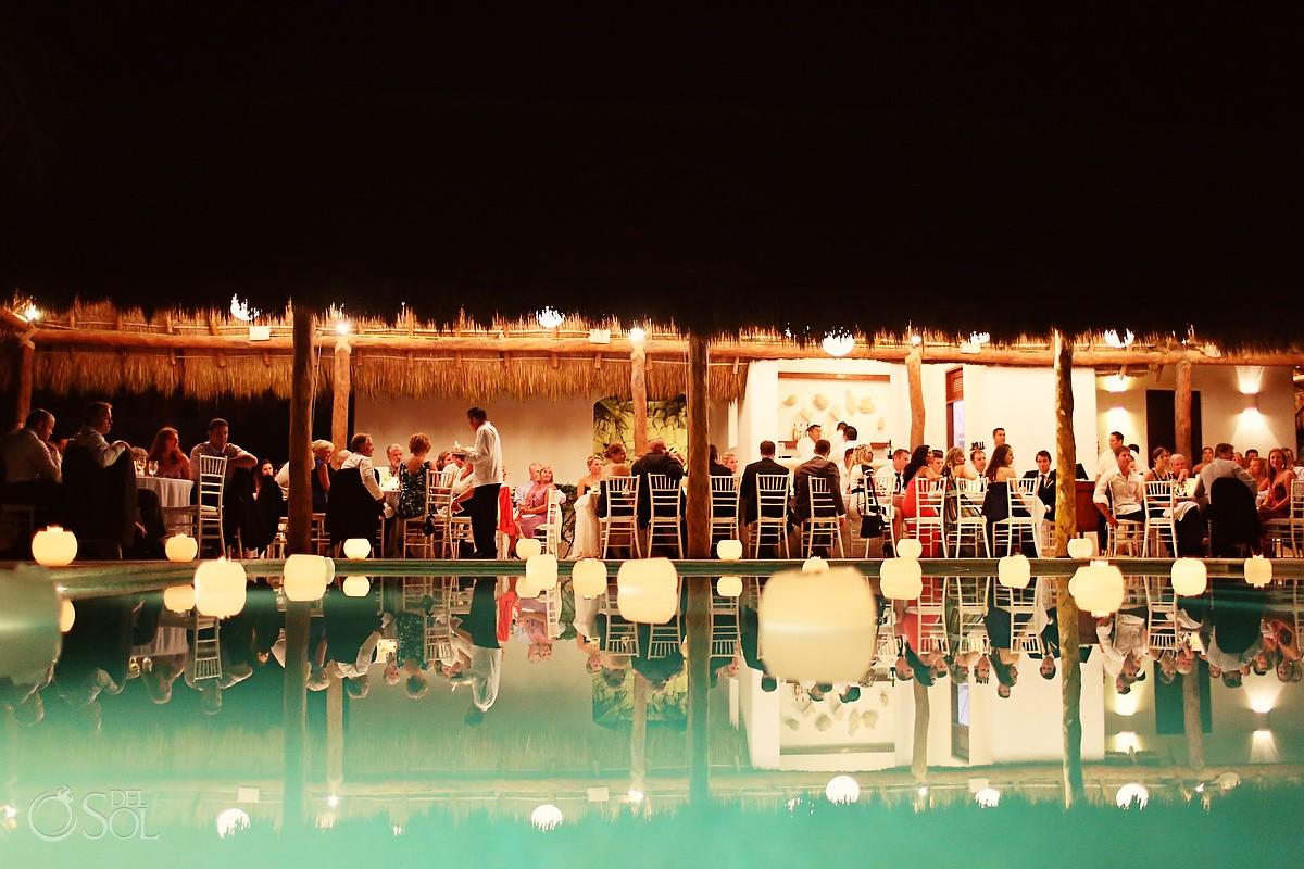 creative destination wedding reception reflection poolside Esencia Hotel Xpu-Ha Beach, Riviera Maya, Mexico.