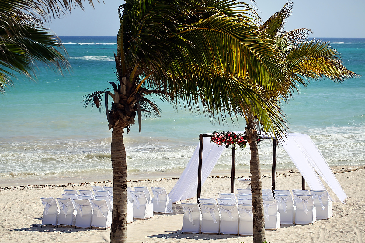 beach destination wedding ceremony setup at dreams tulum hotel in the riviera maya