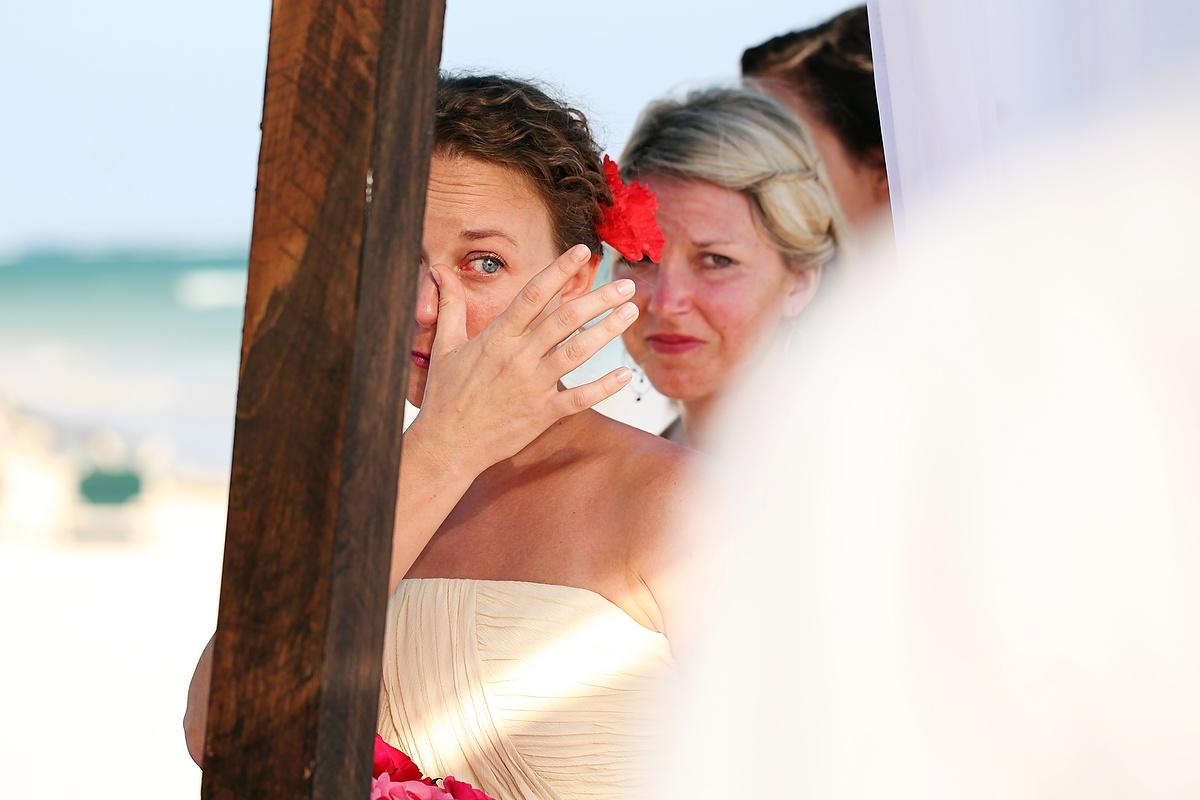 Bride crying Dreams Tulum Destination Weddings