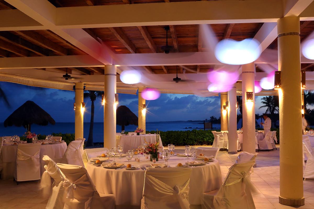 #Aworldofitsown Riviera Maya Mexico - Dreams Tulum Destination Wedding Reception at dusk with beautiful light