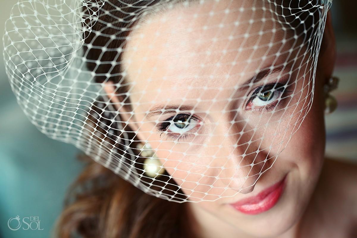 Now Jade Destination Wedding Bride birdcage veil