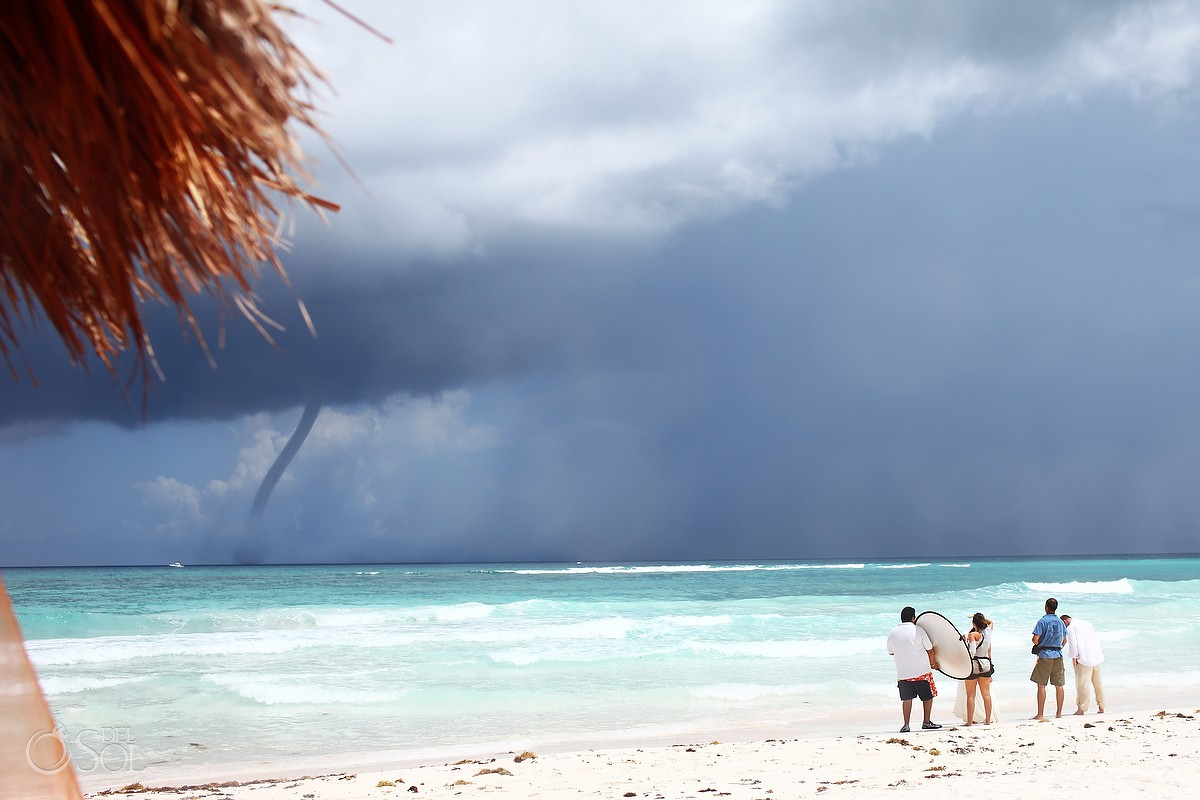 Waterspout on a rainy day in Xpu Ha Mexico for a trash the dress session
