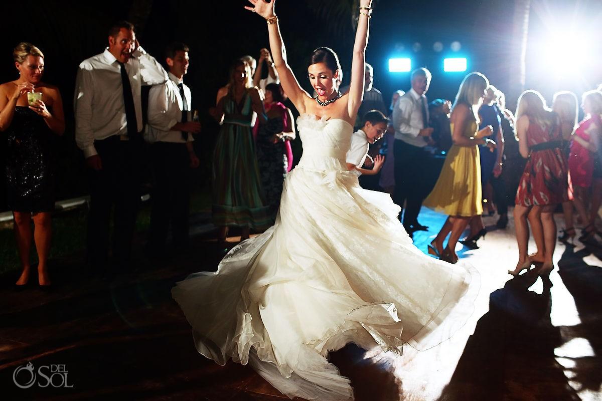 Hotel Esencia wedding reception bride dance