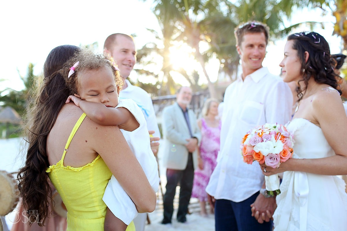 Beach wedding Tulum bride and groom and guests