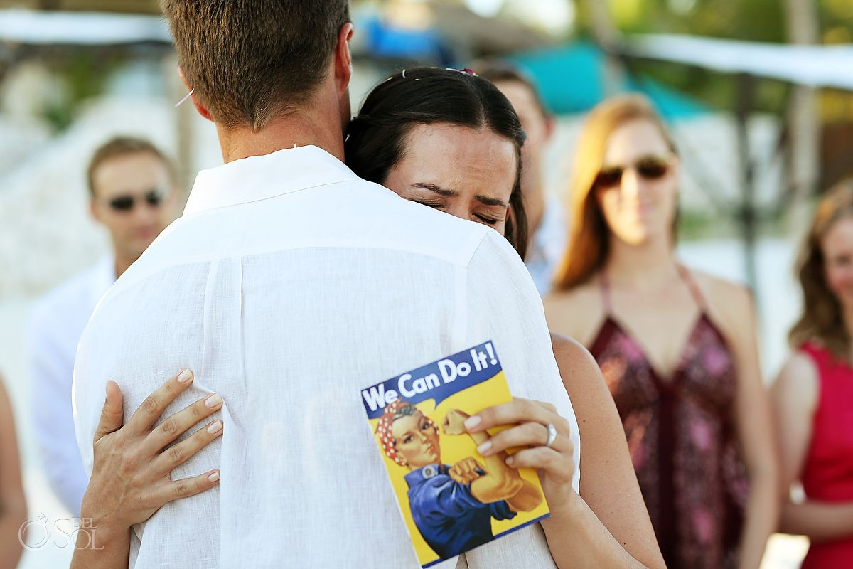 Crying bride Tulum beach wedding hug