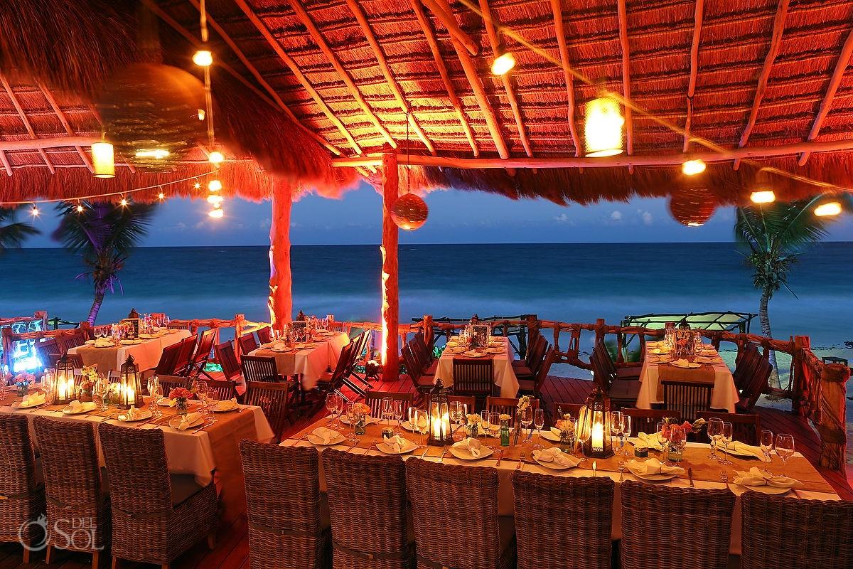 Set up beach wedding in a Tulum palapa at Las Ranitas
