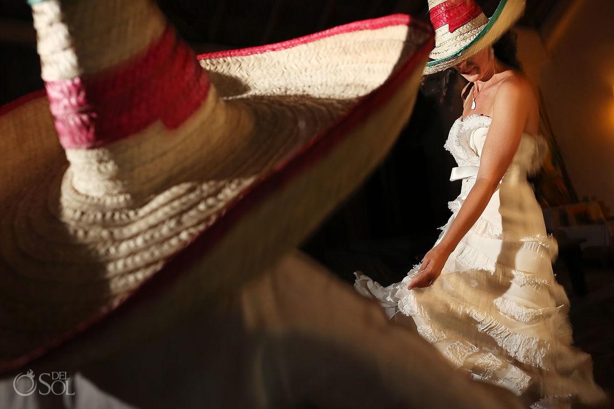 Bride wearing a Mexican sombrero