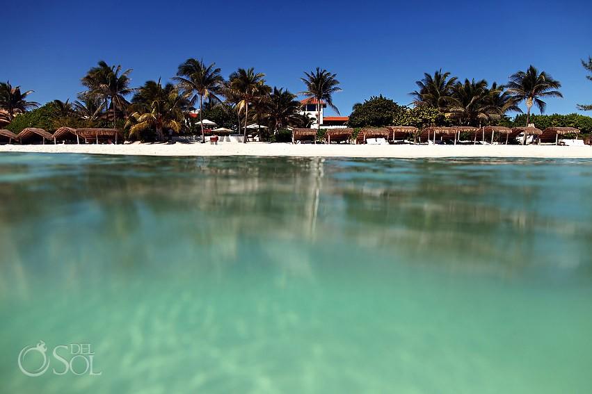 Hotel Esencia view from the Caribbean ocean Xpu Ha beach