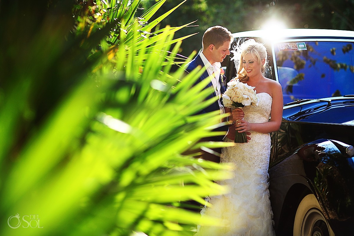 Bride and groom Xcaret wedding Rolls Royce