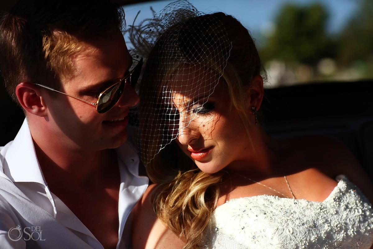 Mexico destination wedding bride groom Rolls Royce