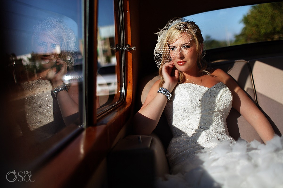 bride in classic car on the way to the wedding del sol photography huffington post