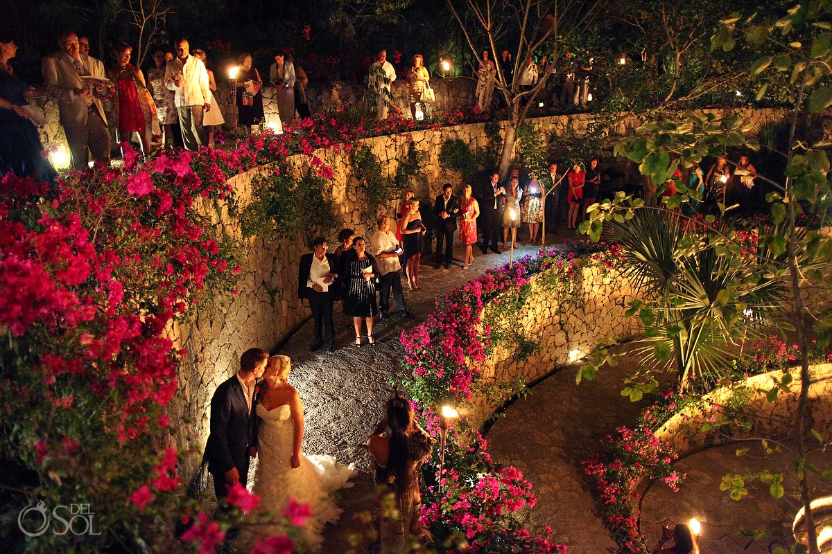 Mexico destination wedding Xcaret Park reception