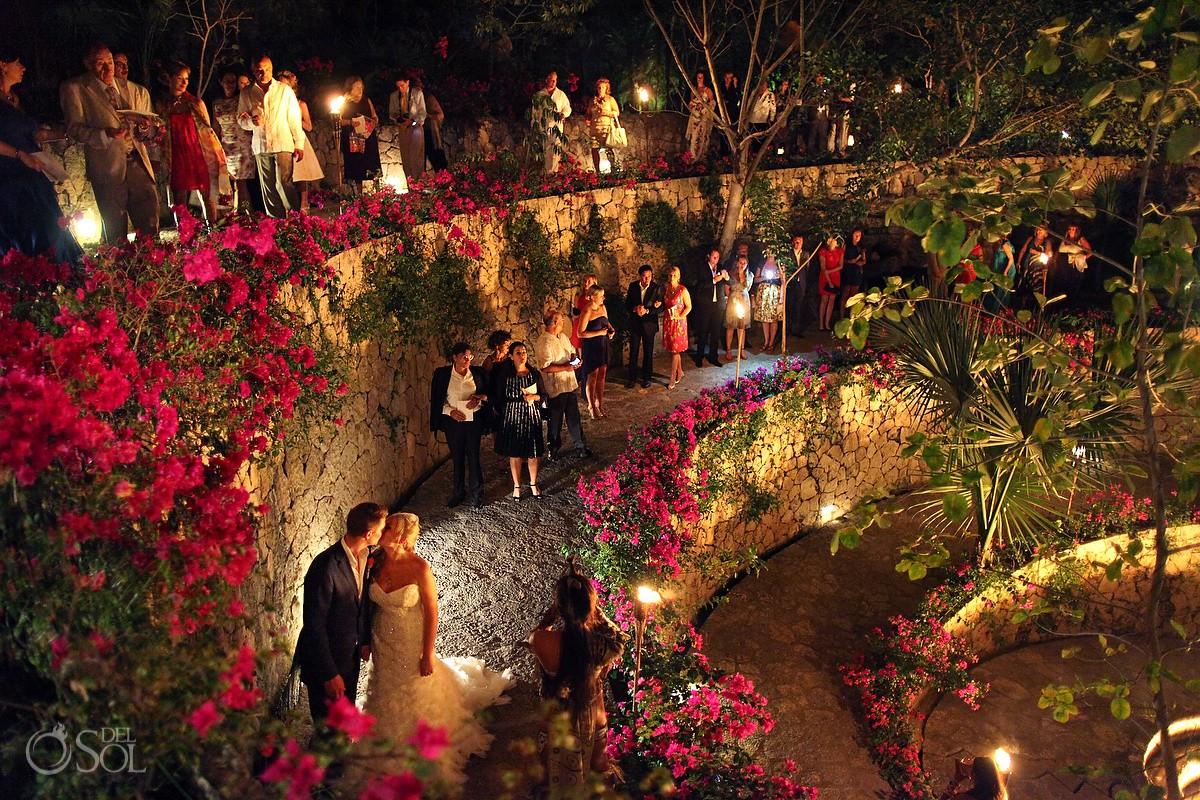 Mexico destination wedding Xcaret Park reception