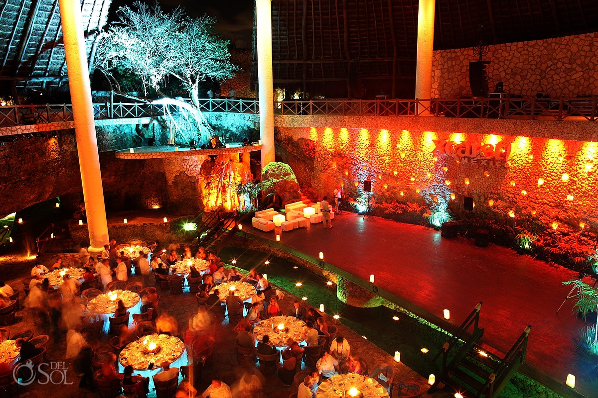 Mexico destination wedding Xcaret Park La Isla restaurant reception