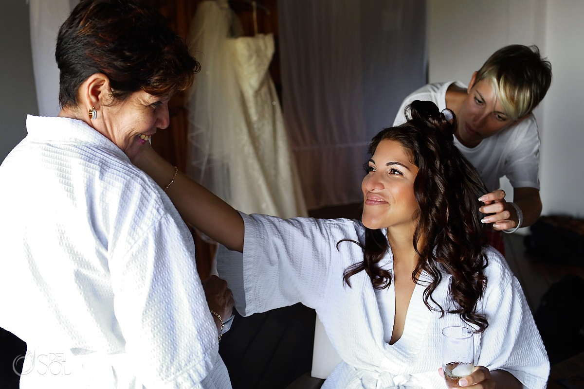 Bride and mother share emotional moment before the wedding with tears at Blue Venado Mexico