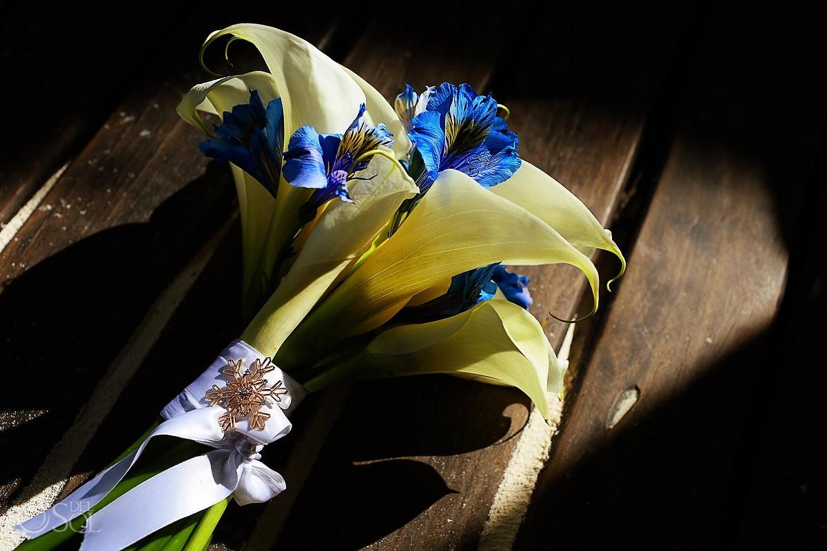 Bridal bouquet destination wedding Tulum