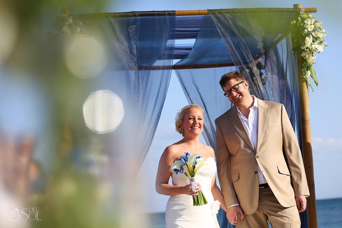 Beach wedding Tulum bride and groom