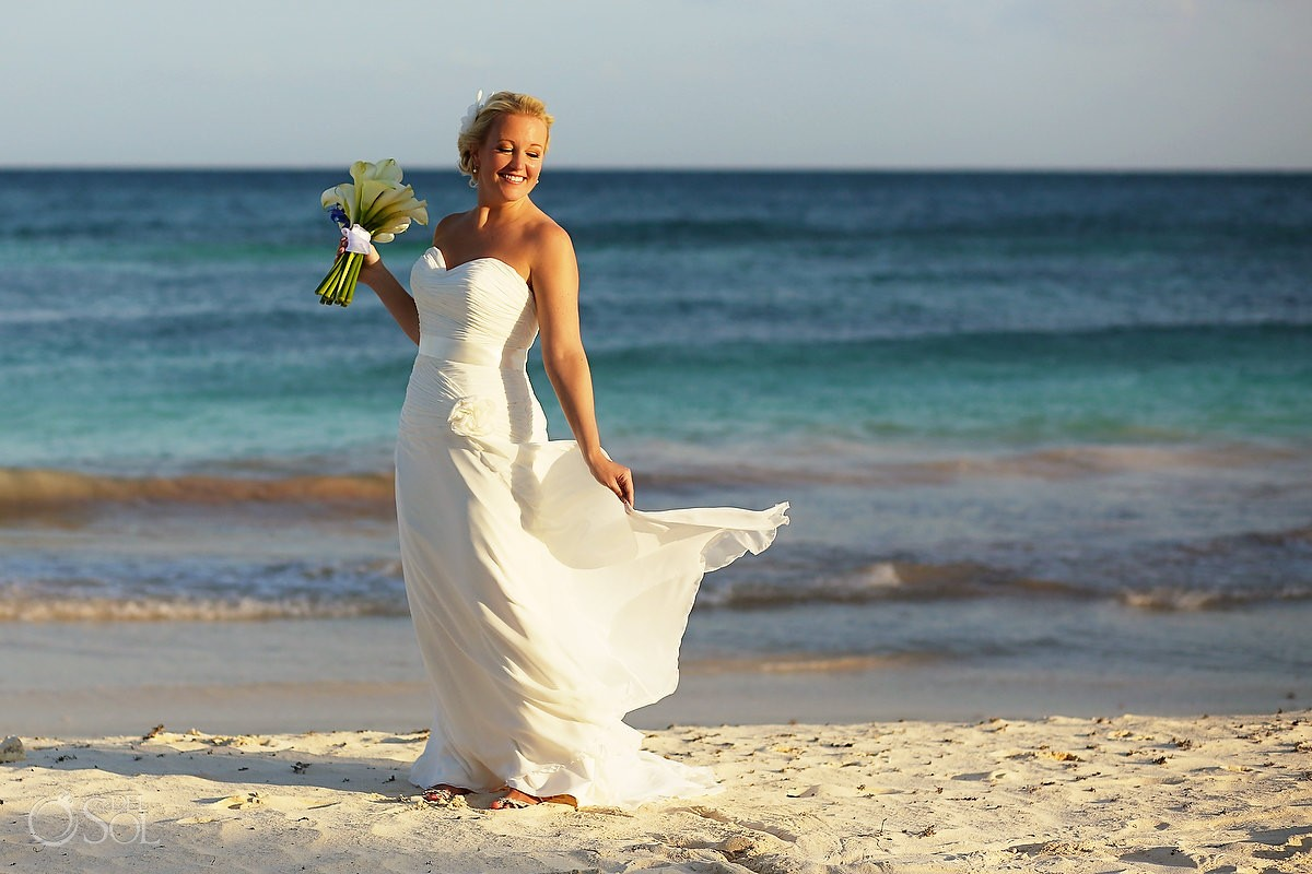 Bride on the beach at a Tulum destination wedding