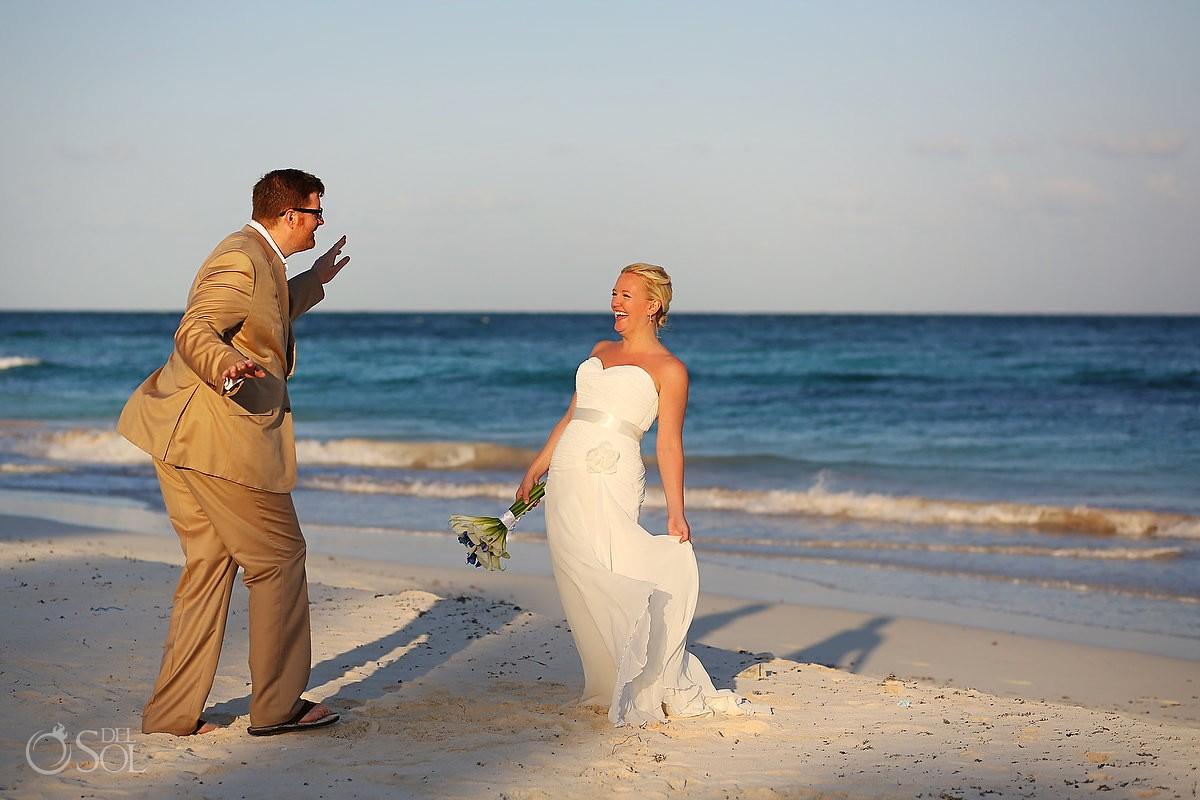 Tulum beach wedding bride and groom