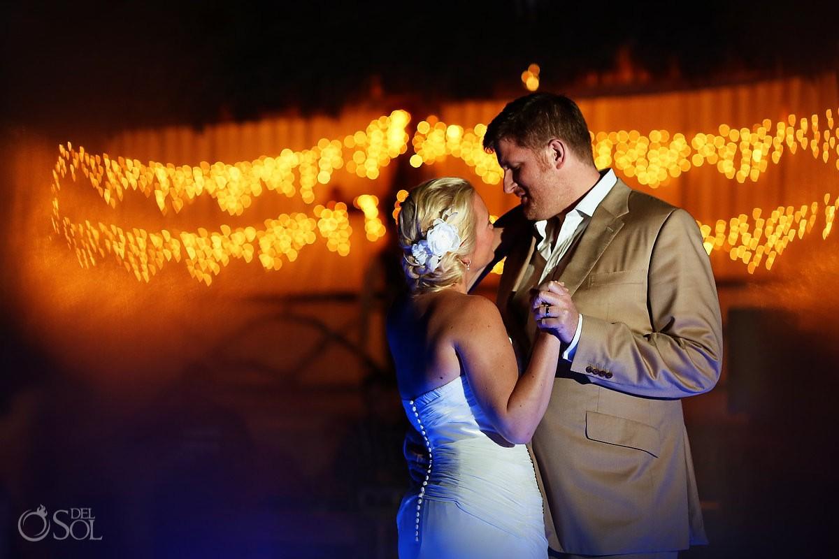 Tulum wedding bride and groom reception