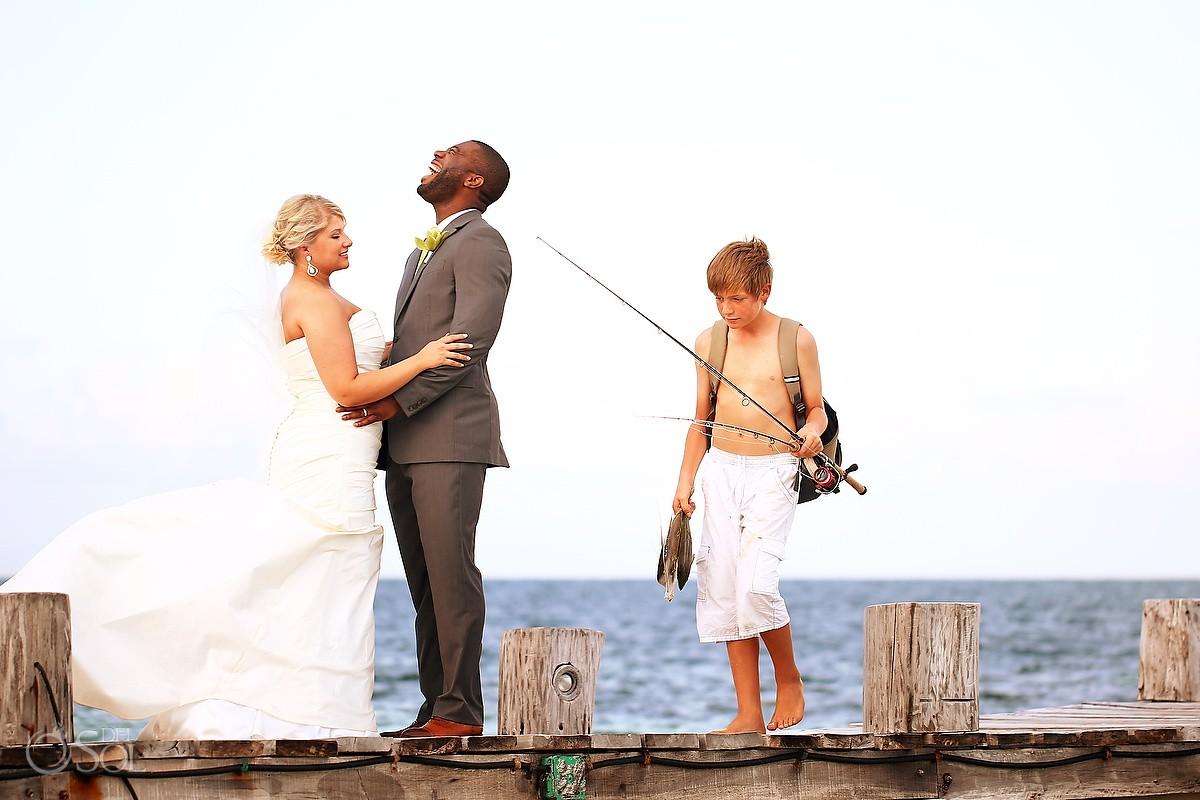 zoetry paraiso de la bonita mexico beach wedding photobomb