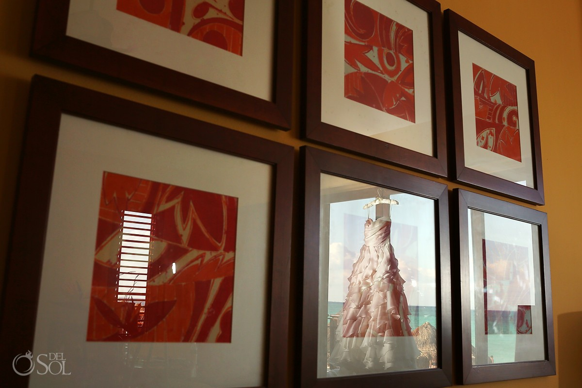 Bridal gown reflected in picture frame
