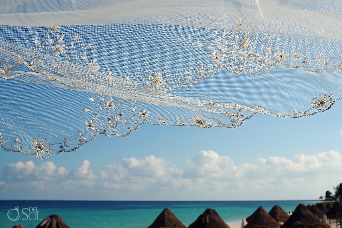 View of Mexican Caribbean Sea through a veil