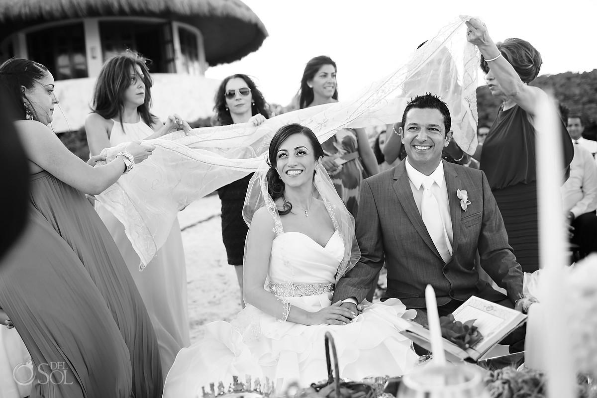 wedding fairmont mayakoba Persian bride and groom black and white