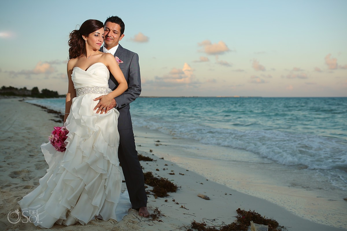 Bride and groom on beach wedding