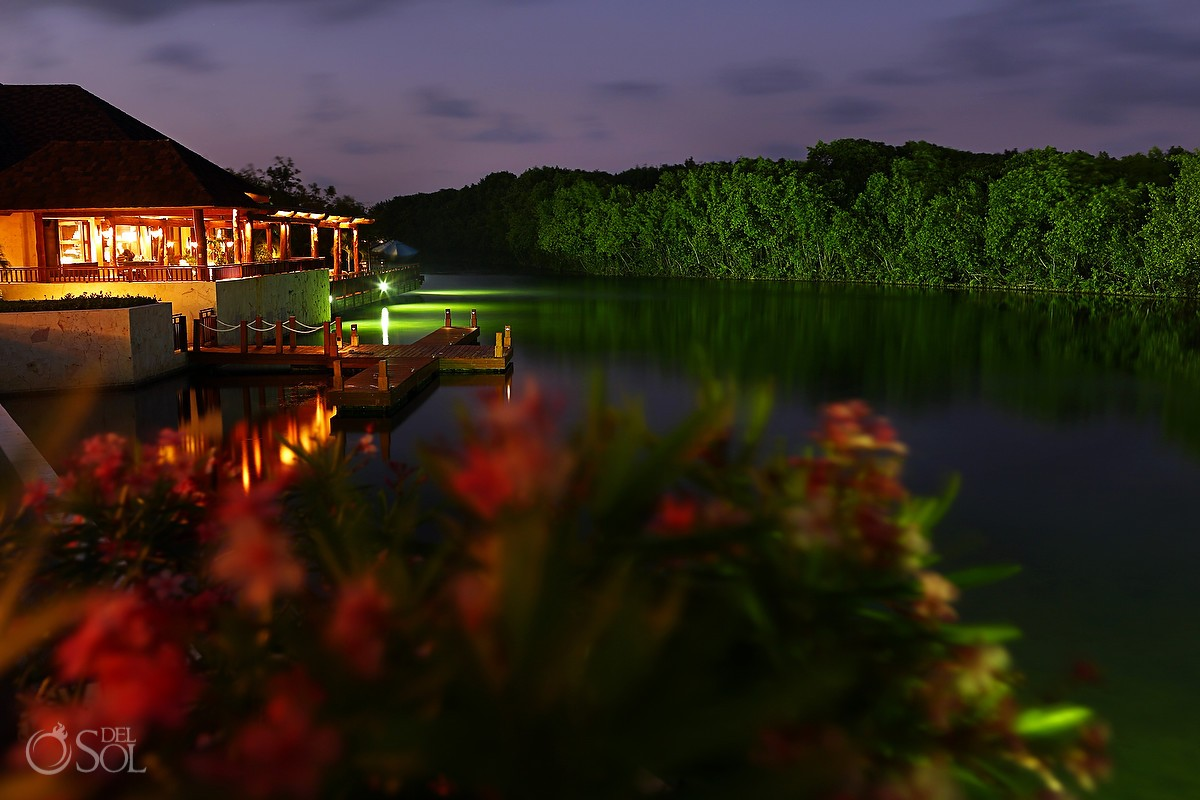 Night shot of lagoon at Fairmont Mayakoba