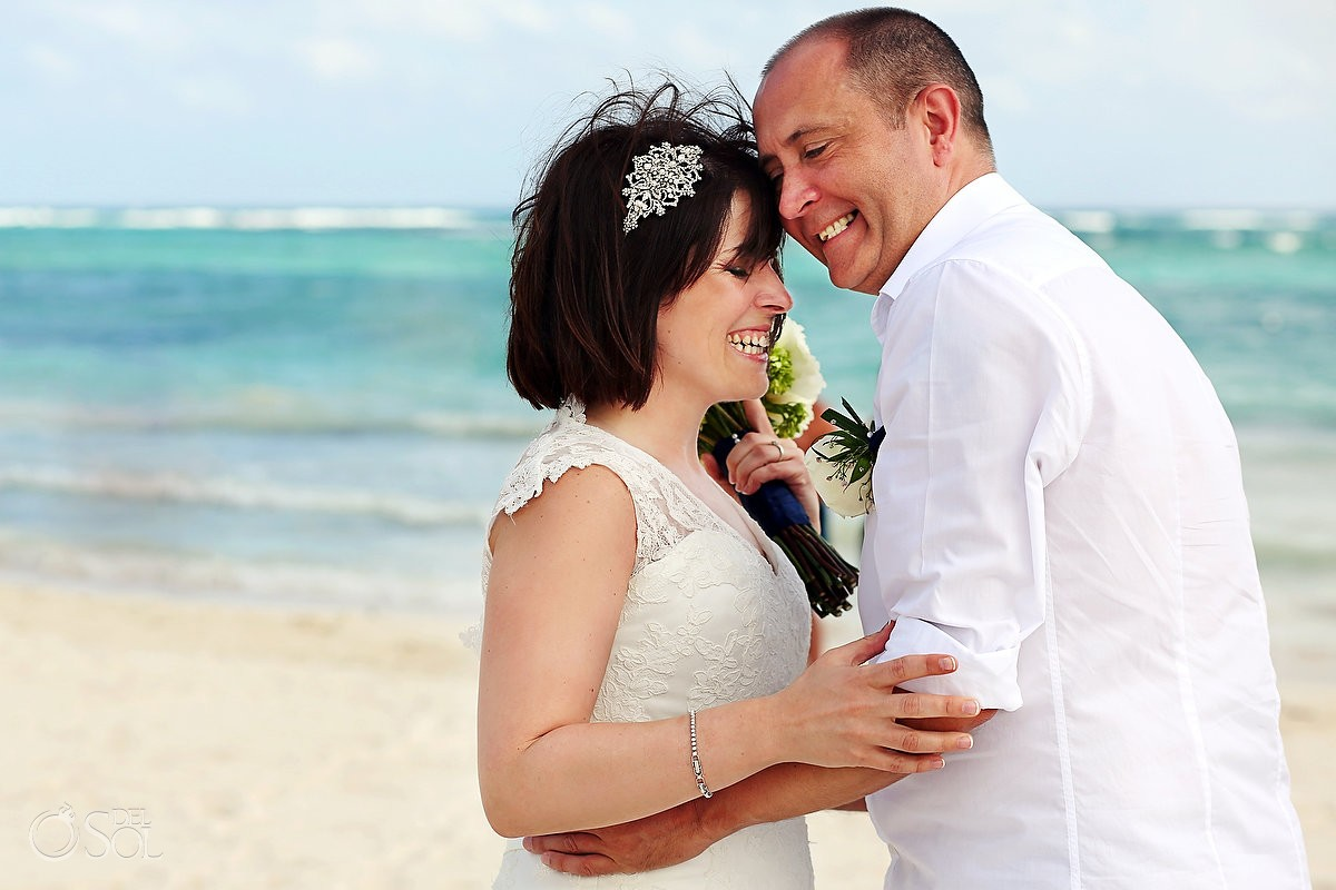 Destination wedding bride groom beach Dreams Tulum