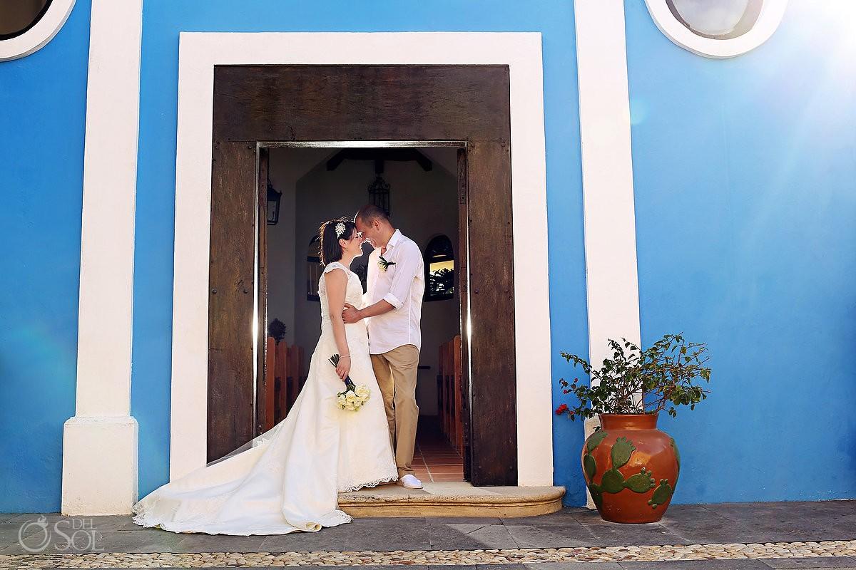 Destination wedding Dreams Tulum chapel bride groom