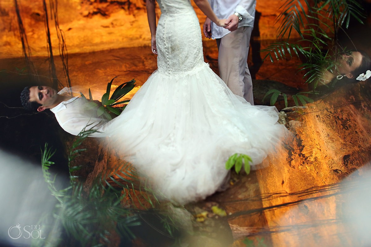 Bride and groom in a Riviera Maya cenote