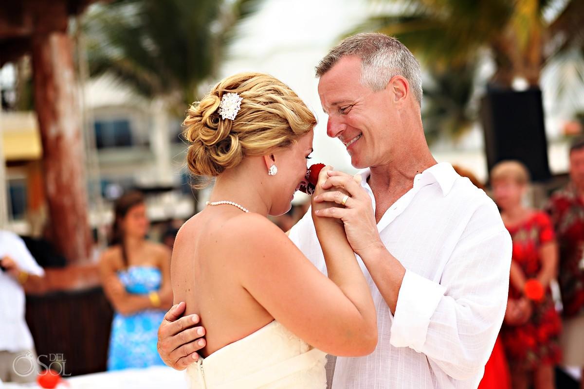 Father and bride destination wedding Playa del Carmen