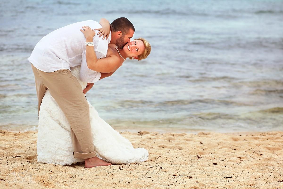 Playa del Carmen beach wedding bride and groom