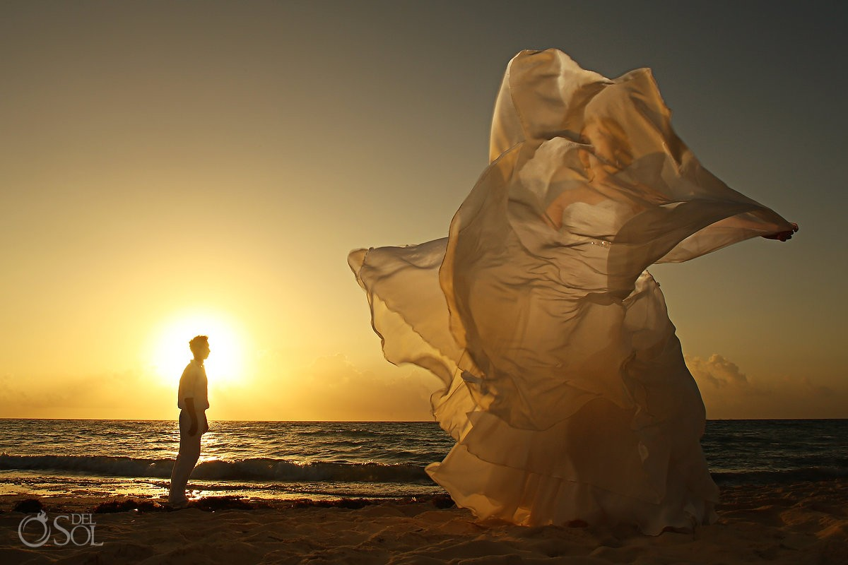 Bride beach sunrise ocean Riveira Maya