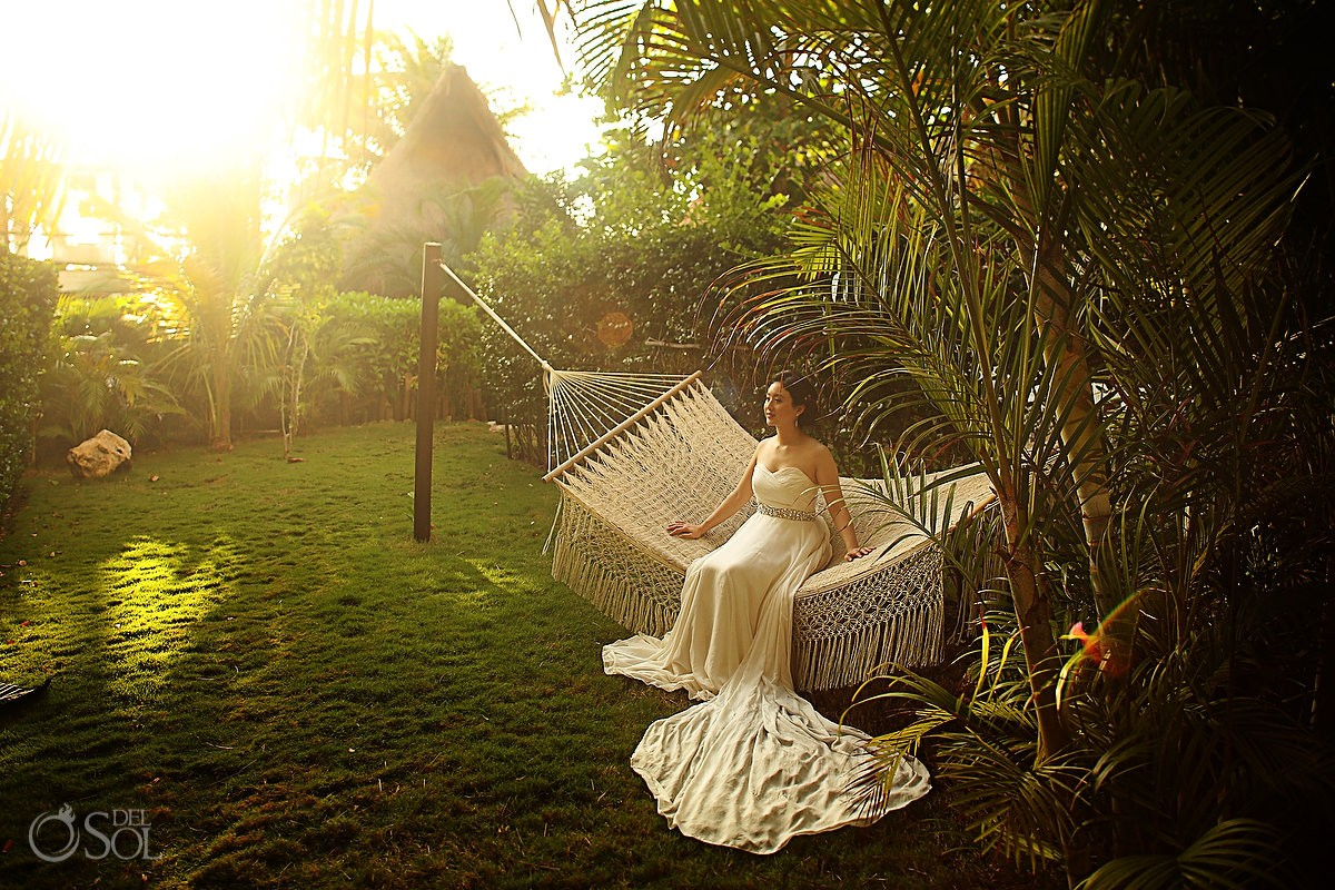 Garden hammock sunrise Chinese bride
