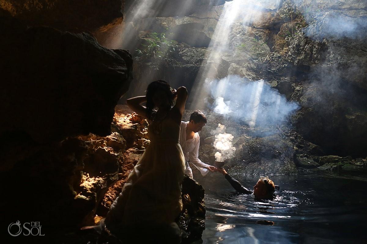 Photo shoot trash the dress cenote copal