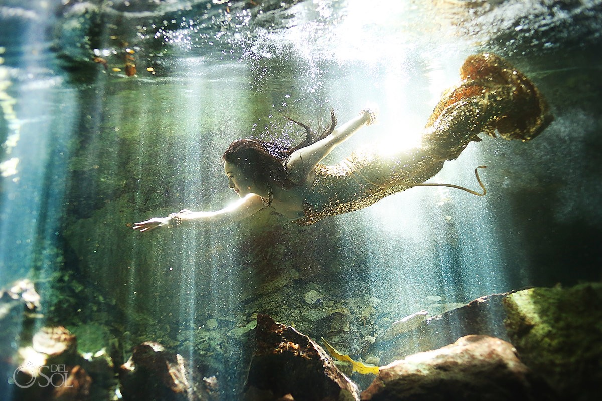 Chinese mermaid bride gold gown underwater cenote