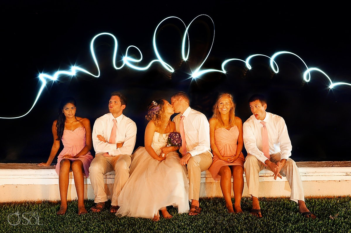 Light writing over bride and groom